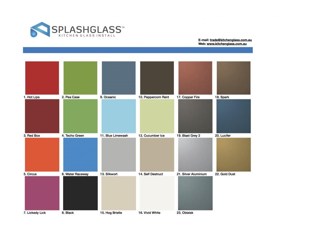 Splash Glass Colour Chart 2016